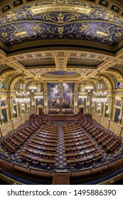 HARRISBURG, PENNSYLVANIA/USA - JULY 19, 2019: House of Representatives chamber in the Pennsylvania State Capitol in Harrisburg