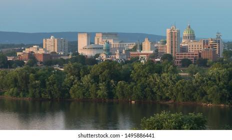 HARRISBURG, PENNSYLVANIA/USA - JULY 19, 2019: Downtown Harrisburg and the Susquehanna River from Negley Park in Lemoyne