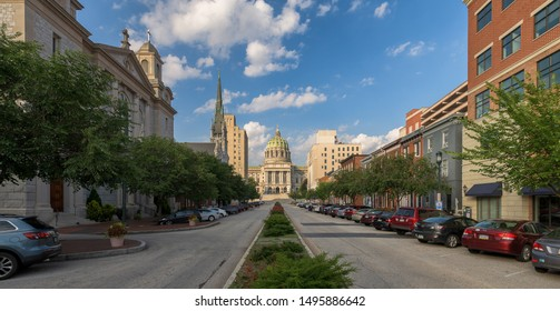 HARRISBURG, PENNSYLVANIA/USA - JULY 19, 2019: West side of the Pennsylvania State Capitol from State Street in Harrisburg