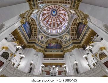 HARRISBURG, PENNSYLVANIA/USA - JULY 20, 2019: Interior of the capitol rotunda in the Pennsylvania State Capitol in Harrisburg