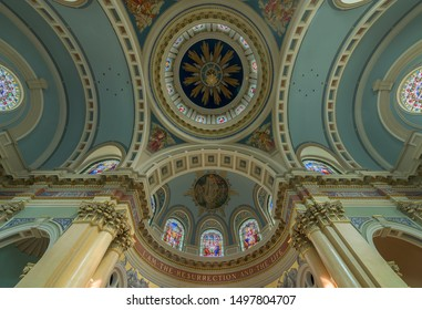 HARRISBURG, PENNSYLVANIA/USA - JULY 20, 2019: Dome ceiling from the floor of the historic Cathedral of Saint Patrick on State Street in Harrisburg