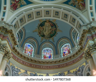 HARRISBURG, PENNSYLVANIA/USA - JULY 20, 2019: Dome ceiling of the historic Cathedral of Saint Patrick on State Street in Harrisburg