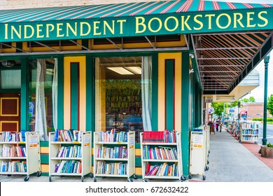 Harrisburg, USA - May 24, 2017: Independent bookstores sign and building with books in Pennsylvania capital city exterior