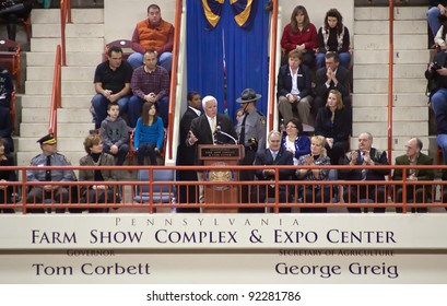 HARRISBURG,PENNSYLVANIA-JANUARY 7: Pennsylvania Governor Tom Corbett  addresses the crowd during opening ceremonies at the Farm Show Complex on January 07, 2012 in Harrisburg, Pennsylvania, USA.