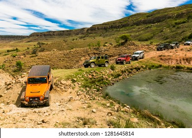 Harrismith, South Africa - October 02 2015: 4x4 Mountain Path Driver Training at Camp Jeep in the Drakensberg