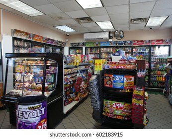 Harrison, New Jersey - March 9 2017. Inside a convenience store at a gas station