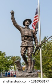 Harrison, New York - Sept. 16, 2020: American Doughboy monument dedicated to the men and women who served in WWI from Harrison at Ma Riis park.