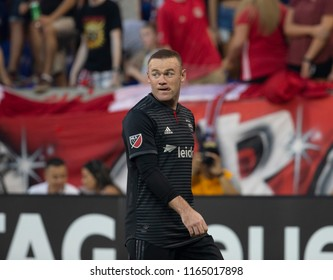 Harrison, NJ - August 26, 2018: Wayne Rooney (9) of D.C. United prepares for corner during regular MLS game against Red Bulls at Red Bull Arena Red Bulls won 1 - 0