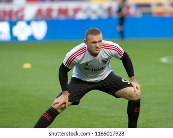 Harrison, NJ - August 26, 2018: Wayne Rooney (9) of D.C. United warming up before regular MLS game against Red Bulls at Red Bull Arena Red Bulls won 1 - 0