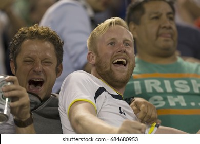 Harrison, NJ - July 25 2017: Spurs fans celebrate goal by Vincent Janssen (not pictured) during International Champions Cup game between Tottenham Hotspur and AS Roma on Red Bulls Arena Roma won 3 - 2