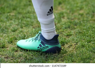 HARRISON, NJ - JULY 28, 2018: Professional soccer player wears Adidas cleats during Juventus vs Benfica game in the 2018 International Champions Cup at Red Bull Stadium