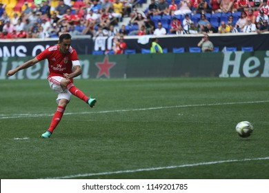 HARRISON, NJ - JULY 28, 2018: Jonas Oliveira #10 of Benfica kicks shot during a penalty kick shootout in an 2018 International Champions Cup tournament soccer match against Juventus