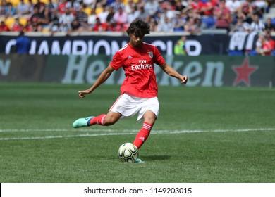 HARRISON, NJ - JULY 28, 2018: Joao Felix #79 of Benfica kicks shot during a penalty kick shootout in an 2018 International Champions Cup tournament soccer match against Juventus