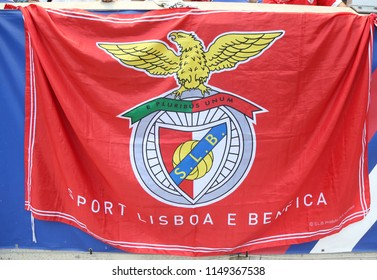 HARRISON, NJ - JULY 28, 2018: Benfica flag at Red Bull Stadium before Benfica  vs Juventus match at the 2018 International Champions Cup tournament