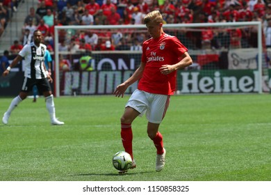 HARRISON, NJ - JULY 28, 2018: Keaton Parks #55 of Benfica in action against Juventus in the 2018 International Champions Cup game at Red Bull Stadium. He is an American professional soccer player