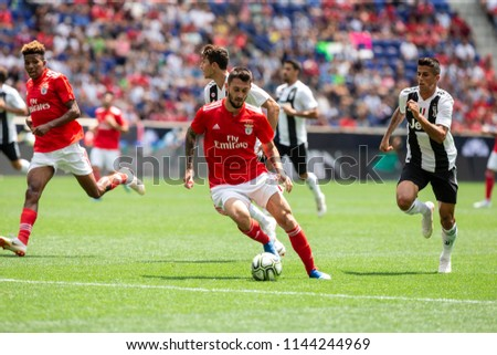 Harrison, NJ - July 28, 2018: Facundo Ferreyra (19) of Benfica controls ball during ICC game against Juventus at Red Bull Arena