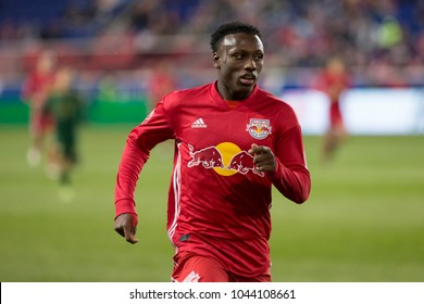 Harrison, NJ - March 10, 2018: Fidel Escobar (29) of Red Bulls controls ball during regular MLS game against Portland Timbers at Red Bull Arena Red Bulls won 4 - 0