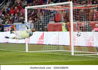 Harrison, NJ - March 10, 2018: Goalkeeper Jake Gleeson (90) of Portland Timbers allows goal by Bradley Wright-Phillips (not pictured) of Red Bulls during regular MLS game at Red Bull Arena