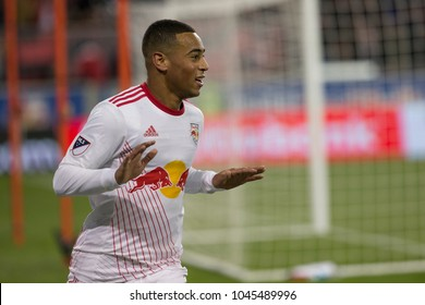 Harrison, NJ - March 13, 2018: Tyler Adams (4) of Red Bulls celebrates scoring goal during Scotiabank Concacaf Champions League quarterfinal second leg game against Club Tijuana at Red Bull Arena