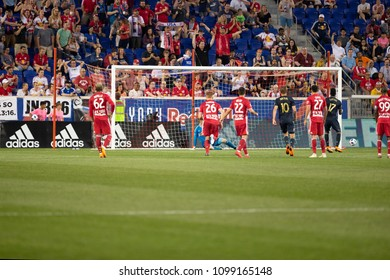 Harrison, NJ - May 26, 2018: CJ Sapong (17) of Philadelphia Union missed penalty kick during regular MLS game against New York Red Bulls at Red Bull Arena Game ended in draw 0 - 0