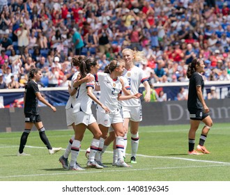 Harrison, NJ - May 26, 2019: Mallory Pugh (2) of USA celebrates with teammates scoring goal during friendly game against Mexico as preparation for Womens World Cup on Red Bull Arena USA won 3 - 0