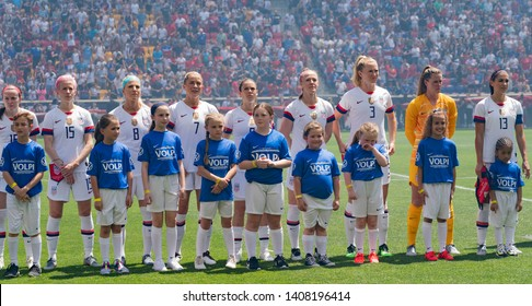 Harrison, NJ - May 26, 2019: Starting eleven of USA at opening ceremony of friendly game against Mexico as preparation for Womens World Cup on Red Bull Arena USA won 3 - 0