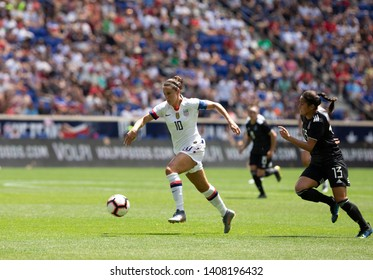 Harrison, NJ - May 26, 2019: Carli Lloyd (10) of USA controls ball during friendly game against Mexico as preparation for Womens World Cup on Red Bull Arena USA won 3 - 0