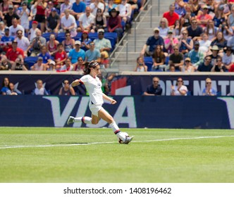 Harrison, NJ - May 26, 2019: Alex Morgan (13) of USA controls ball during friendly game against Mexico as preparation for Womens World Cup on Red Bull Arena USA won 3 - 0
