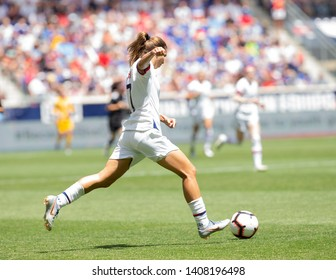 Harrison, NJ - May 26, 2019: Tobin Heath (17) of USA controls ball during friendly game against Mexico as preparation for Womens World Cup on Red Bull Arena USA won 3 - 0