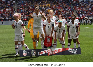 """HARRISON, NJ - MAY 26, 2019: U.S. Women's National Soccer Team line-up  before friendly game against Mexico as preparation for 2019 Women""""s World Cup on Red Bull Arena in Harrison, NJ. USA won 3 - 0"""