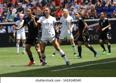 HARRISON, NJ - MAY 26, 2019: U.S. Women's National Soccer Team captain Alex Morgan #13 in action during friendly game against Mexico as preparation for 2019 Women's World Cup on Red Bull Arena