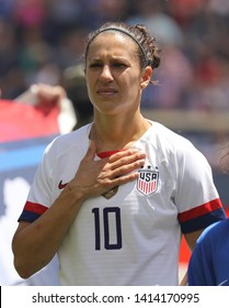 HARRISON, NJ - MAY 26, 2019: U.S. Women's National Soccer Team captain Carli Lloyd #10 during National Anthem before friendly game against Mexico as preparation for 2019 Women's World Cup