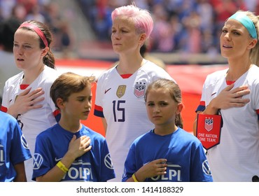 HARRISON, NJ - MAY 26, 2019: U.S. Women's National Soccer Team forward Megan Rapinoe #15 during National Anthem before friendly game against Mexico as preparation for 2019 Women's World Cup