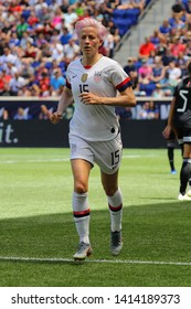 HARRISON, NJ - MAY 26, 2019: U.S. Women's National Soccer Team forward Megan Rapinoe #15 in action during friendly game against Mexico as preparation for 2019 Women's World Cup in Harrison, NJ