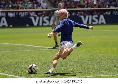 HARRISON, NJ - MAY 26, 2019: U.S. Women's National Soccer Team forward Megan Rapinoe #15 in action during warm up before friendly game against Mexico as preparation for 2019 Women's World Cup