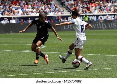 HARRISON, NJ - MAY 26, 2019: U.S. Women's National Soccer Team captain Carli Lloyd #10 in action during friendly game against Mexico as preparation for 2019 Women's World Cup on Red Bull Arena