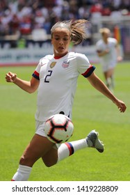 HARRISON, NJ - MAY 26, 2019: U.S. Women's National Soccer Team forward Mallory Pugh #2 in action during friendly game against Mexico as preparation for 2019 Women's World Cup in Harrison, NJ