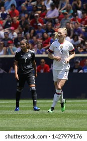 HARRISON, NJ - MAY 26, 2019: U.S. Women's National Soccer Team midfielder Samantha Mewis #3 in action during friendly game against Mexico as preparation for 2019 Women's World Cup in Harrison, NJ