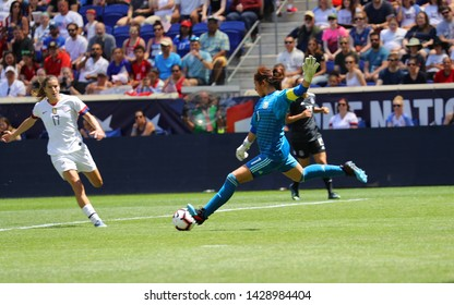 HARRISON, NJ - MAY 26, 2019: Goalkeeper Cecilia Santiago of Mexico in action during friendly game against U.S. Women's National Soccer Team as preparation for 2019 Women's World Cup in Harrison, NJ