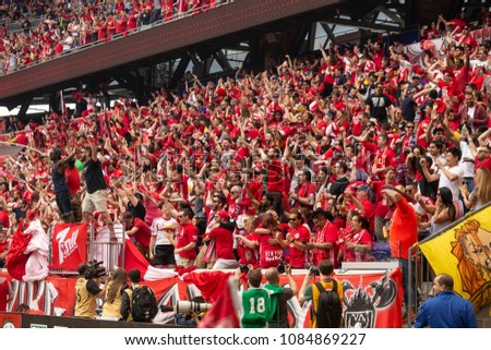Harrison, NJ - May 5, 2018: New York Red Bulls fans celebrate during regular MLS game against NYCFC at Red Bull Arena Red Bulls won 4 - 0