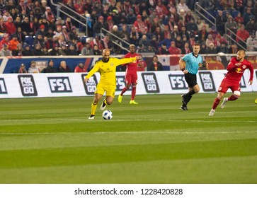 Harrison, NJ - Nov 11, 2018: Federico Higuain (10) of Columbus Crew SC controls ball during 2nd leg MLS Cup Eastern Conference semifinal game against Red Bulls at Red Bull Arena Red Bulls won 3 - 0