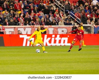 Harrison, NJ - Nov 11, 2018: Federico Higuain (10) of Columbus Crew SC kicks the ball during 2nd leg MLS Cup Eastern Conference semifinal game against Red Bulls at Red Bull Arena Red Bulls won 3 - 0