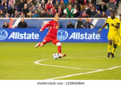 Harrison, NJ - Nov 11, 2018: Daniel Royer (77) of Red Bulls shots & scores goal during 2nd leg MLS Cup Eastern Conference semifinal game against Columbus Crew SC at Red Bull Arena Red Bulls won 3 - 0