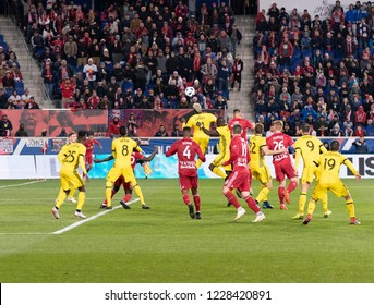 Harrison, NJ - Nov11, 2018: Gyasi Zardes (11) of Columbus Crew SC controls air ball during 2nd leg MLS Cup Eastern Conference semifinal game against Red Bulls at Red Bull Arena Red Bulls won 3 - 0