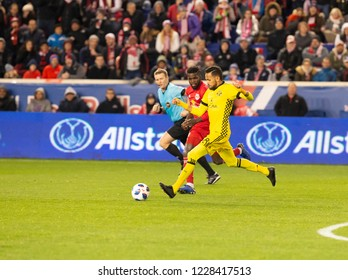 Harrison, NJ - November 11, 2018: Artur (8) of Columbus Crew SC controls ball during 2nd leg MLS Cup Eastern Conference semifinal game against Red Bulls at Red Bul Arena Red Bulls won 3 - 0