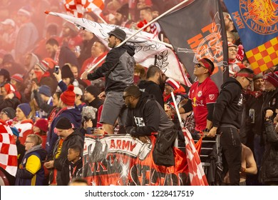 Harrison, NJ - November 11, 2018: Red Bulls fans celebrate during 2nd leg MLS Cup Eastern Conference semifinal game between Red Bulls and Columbus Crew SC at Red Bul Arena Red Bulls won 3 - 0