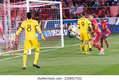 Harrison, NJ - November 11, 2018: Aaron Long (33) of Red Bulls scores goal during 2nd leg MLS Cup Eastern Conference semifinal game against Columbus Crew SC at Red Bul Arena Red Bulls won 3 - 0