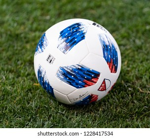 Harrison, NJ - November 11, 2018: Official MLS football on display during 2nd leg MLS Cup Eastern Conference semifinal game at Red Bul Arena Red Bulls won 3 - 0