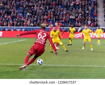 Harrison, NJ - November 11, 2018: Michael Murillo (62) of Red Bulls controls ball during 2nd leg MLS Cup Eastern Conference semifinal game against Columbus Crew SC at Red Bul Arena Red Bulls won 3 - 0