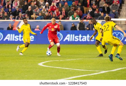 Harrison, NJ - November 11, 2018: Daniel Royer (77) of Red Bulls controls ball during 2nd leg MLS Cup Eastern Conference semifinal game against Columbus Crew SC at Red Bul Arena Red Bulls won 3 - 0